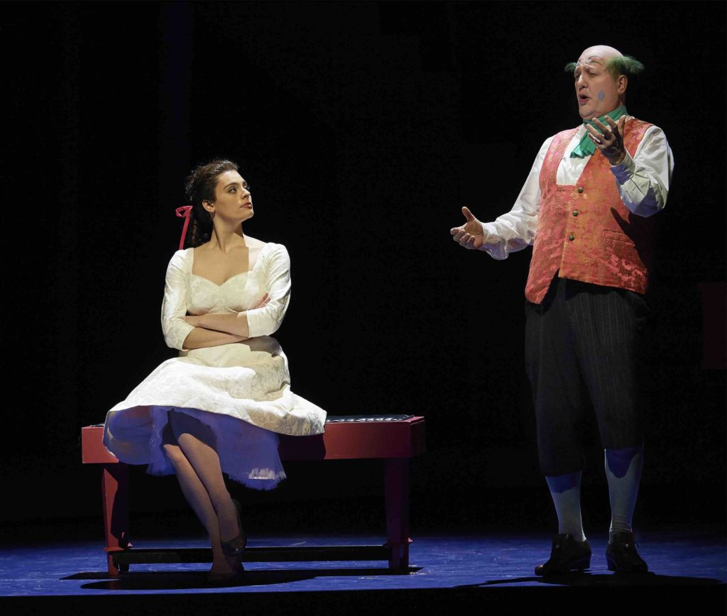 Emily D'Angelo as Rosina and Renato Girolami as Bartolo are key characters as they sing in the Barber of Seville