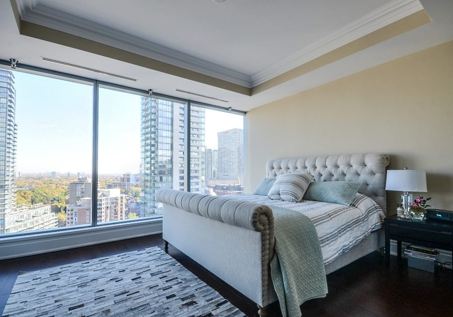 The Four Seasons Residences master bedroom with view