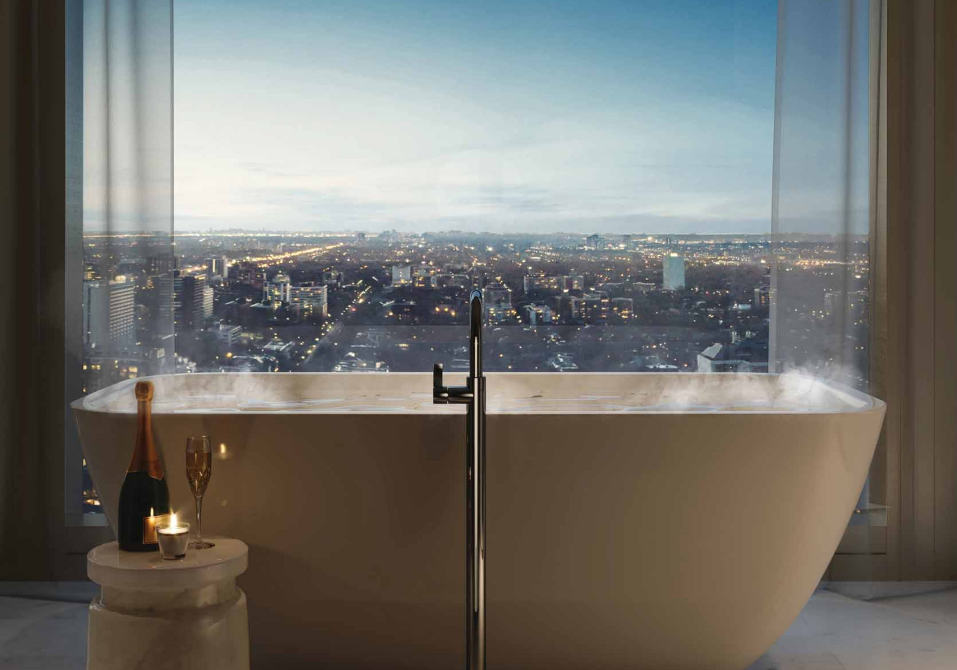 50 Scollard Street with bathtub and view over city